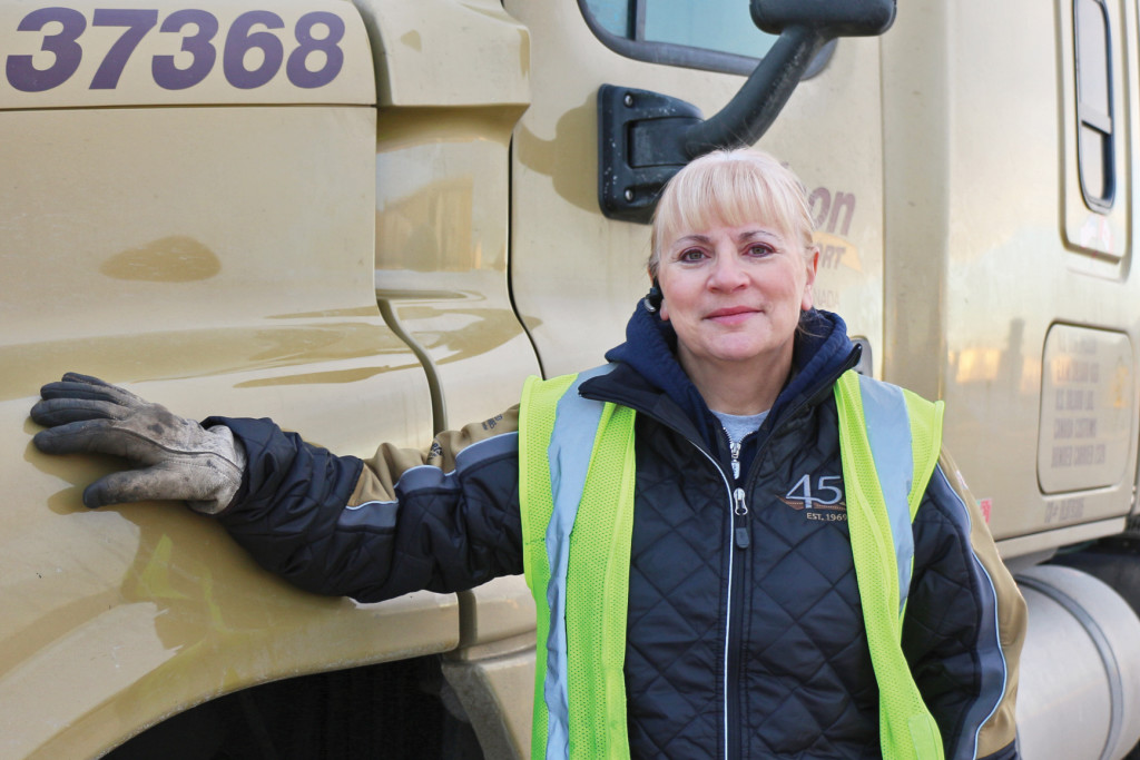 Female Professional Driver Bison Transport