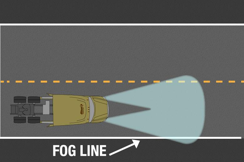 Semi truck headlight fog line
