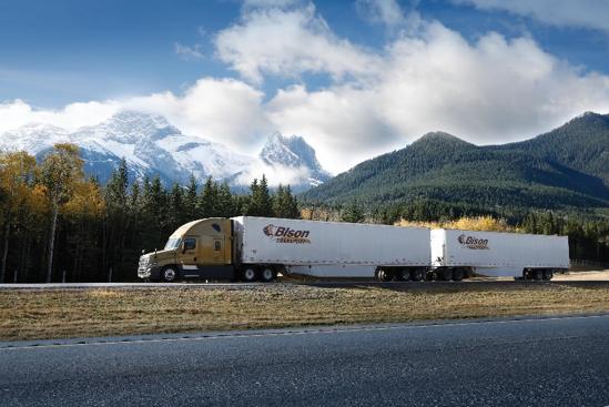 Bison Transport LCV driving on highway in Alberta