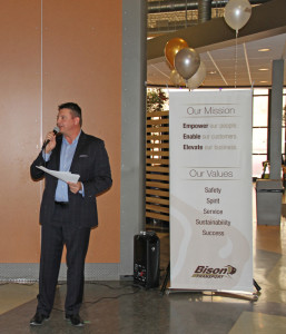 Bison President and COO, Rob Penner, officially announces our new Mission and Core Values.
