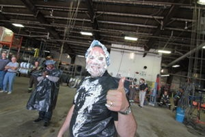 Alan shows off his new look after the Pie Your Manager event.