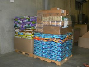 A pallet of pet supplies set to be loaded onto a Bison trailer and shipped off to Ft. McMurray.