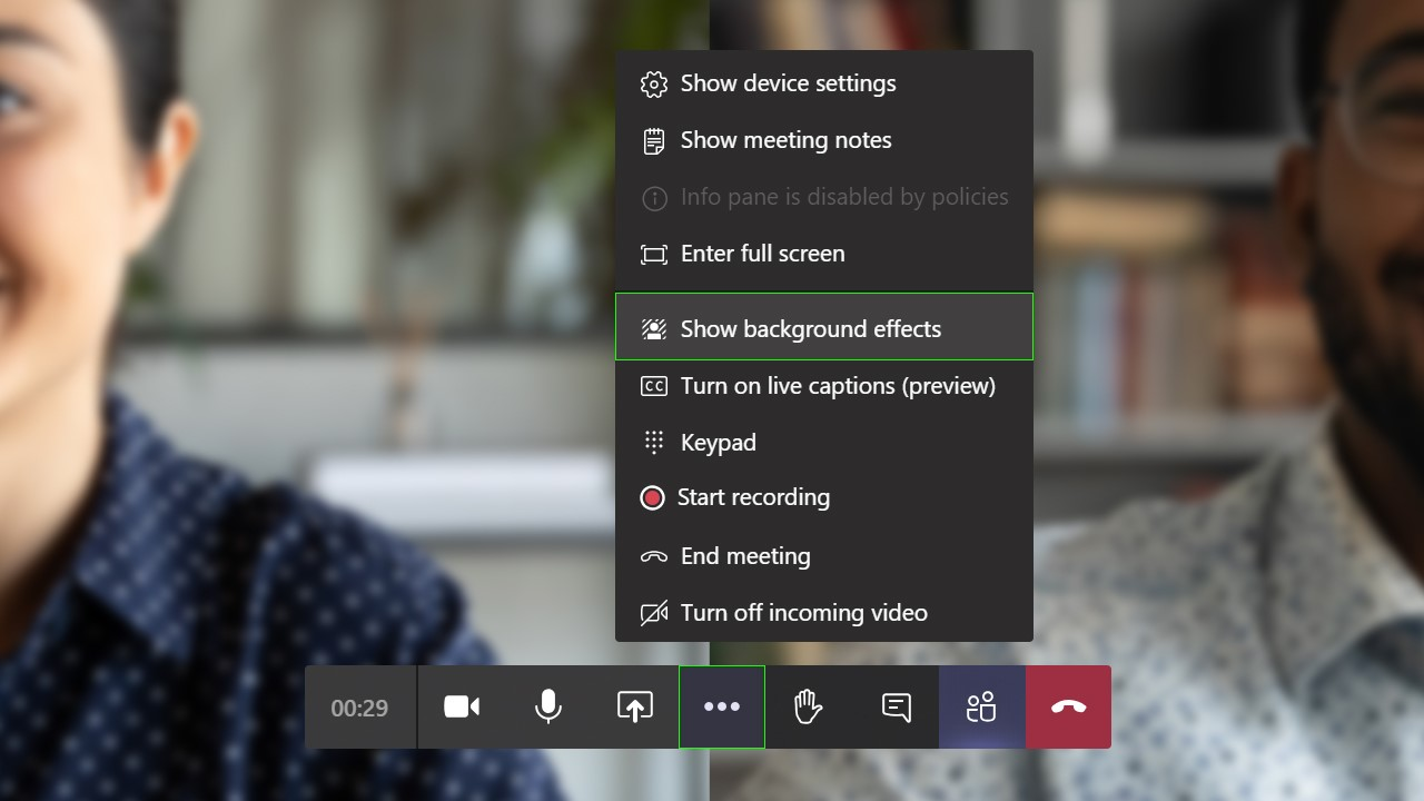 """""""Show background effects"""" selection in Microsoft Teams."""